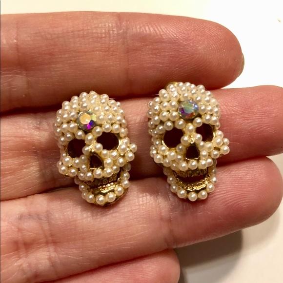 Jewelry Handmade Pearl Crystal Skull Earrings Studs Poshmark